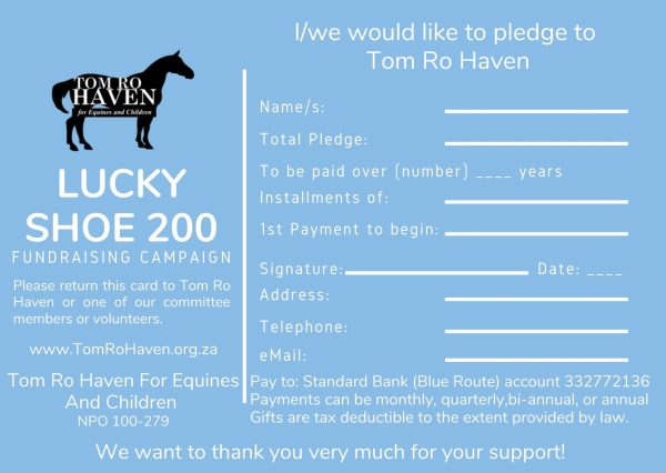 Luck Shoe 200 Pledge Card